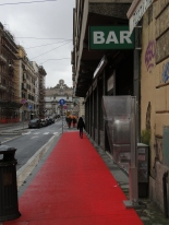 red carpet outside a shop at Christmas time