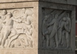 Fascist reliefs on the Duca D'Aosta bridge leading to the Foro italico