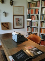 Moravia's desk and typewriter