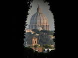 Keyhole view of St Peter's at dawn