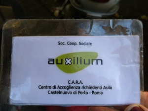 CARA card from the Centre for asylum seekers in Castelnuovo di Porto