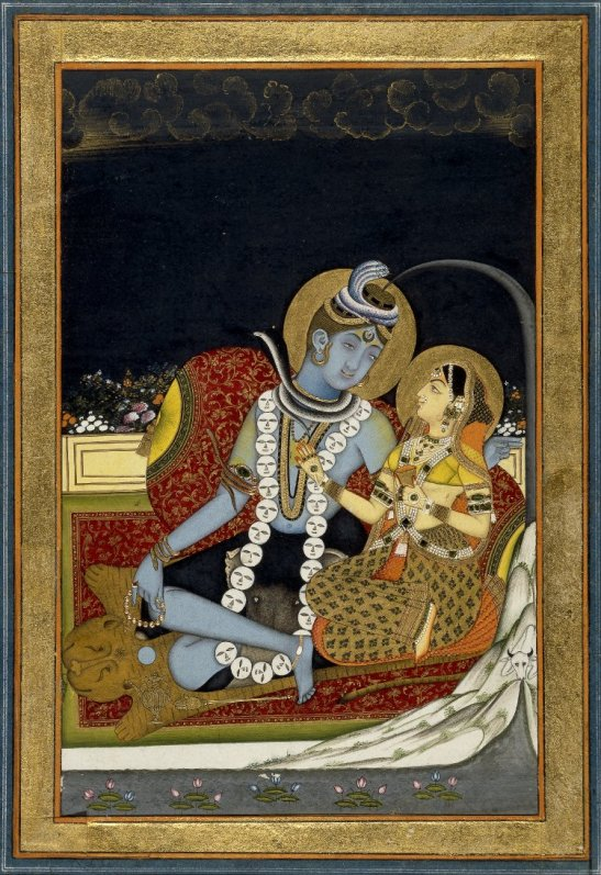 6_siva_and_parvati_seated_on_a_terrace-_1800_circa_bm